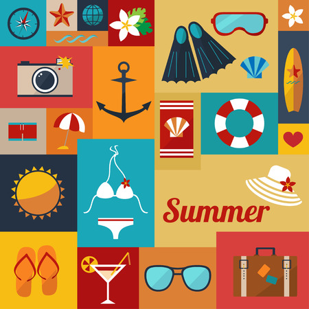 sea shells on beach: abstract bright summer background with flat icons vector