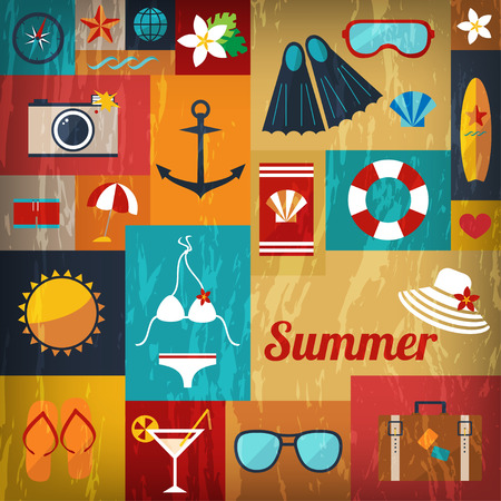 snorkelling: abstract bright summer background of flat icons with retro effect vector Illustration