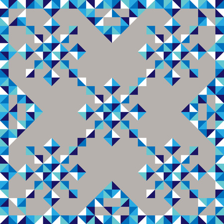 snowflake border: abstract seamless geometric pattern of triangles vector  background