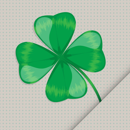 lucky clover leaf on the seamless dotted paper background Vector