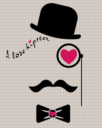abstract vector hipster silhouette with bowler hat, monocle, mustache and bow tie on the vintage polka dot background Vector