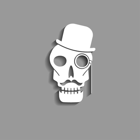 abstract skull paper silhouette with mustache monocle and bowler hat vector icon