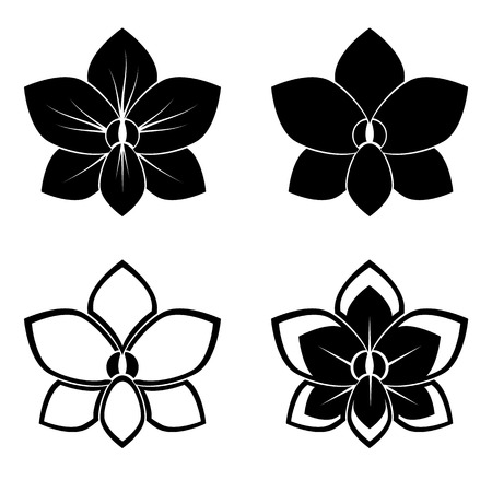four orchid silhouettes for design vector Vector