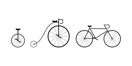 circus bike: siluetas vector �rbol de la bici: circo, retro y moderno