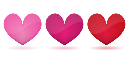 three colored: three colored heart symbols vector Illustration
