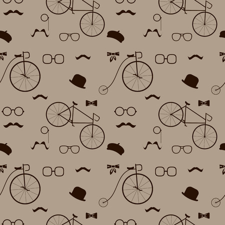 abstract seamless pattern with hipster elements vector background Vector