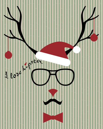 abstract vector hipster-deer silhouette with santa hat, aviator sunglasses and mustache on the vintage striped background Vector