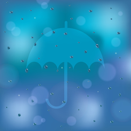 damp: abstract umbrella icon on the rainy background vector