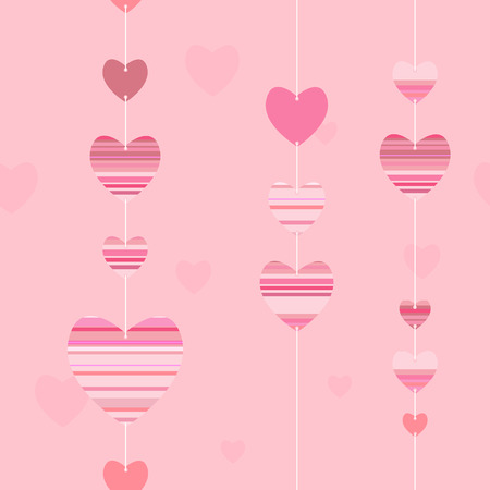 seamless pattern with garland of striped hearts vector background Vector