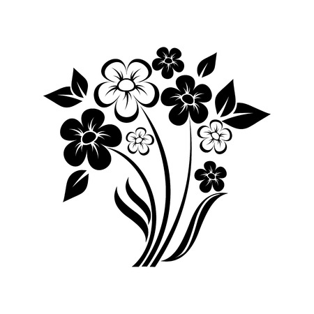 abstract floral composition of wildflowers  Vector
