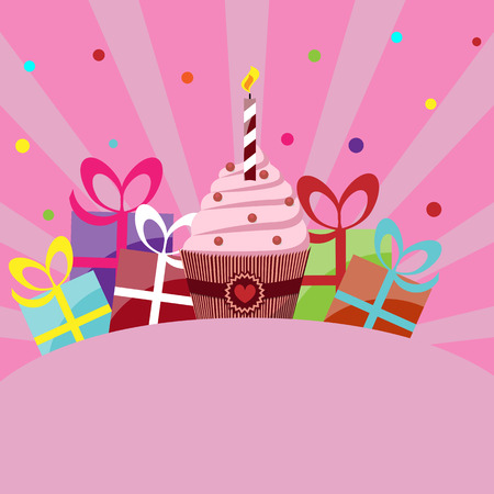 birthday card template with cake, gifts and place for inscription Vector