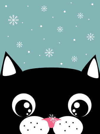 funny cartoon cat with snowflake on the nose card template Vector