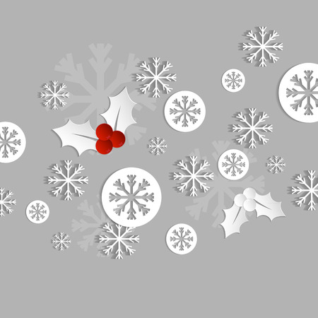 holly berry: christmas paper card with holly and snowflakes
