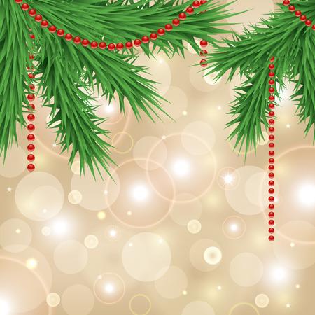 branche sapin noel: mod�le de carte de No�l avec d�coration branche d'arbre de No�l sur le fond d'or �tincelant Illustration