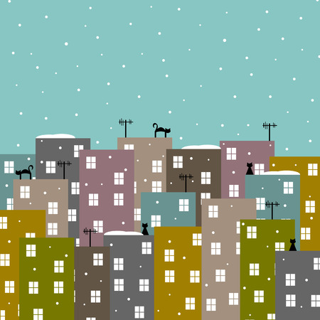 fall scenery: abstract stylized city in winter illustration Illustration