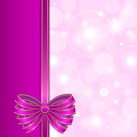 purple card template with bow background for design Vector