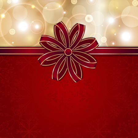 postcard background: christmas red card template with bow background for design
