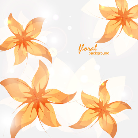 daisy wheel: floral background with abstract orange flowers