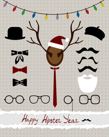 abstract collage of hipster accessories with holiday elements on the dotted vintage  Vector