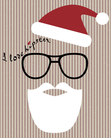 santa hat: abstract hipster-santa silhouette with santa hat, aviator sunglasses and beard on the vintage striped background