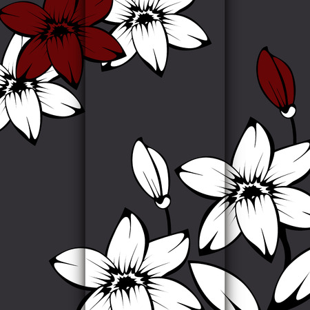daisy wheel: card template with abstract lily flowers background