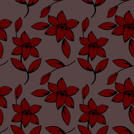 daisy wheel: seamless pattern of lily flowers background