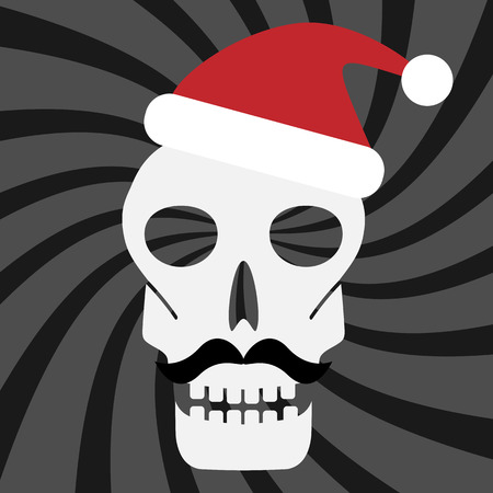 abstract skull silhouette in santa hat on the striped for design