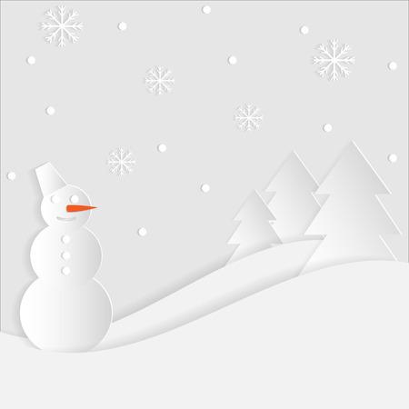 fiambres: Panorama del invierno de papel con el muñeco de nieve, árboles de navidad y copos de nieve Vectores