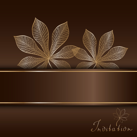 autumn brown invitation template with pair of gold chestnut leaves  Vector