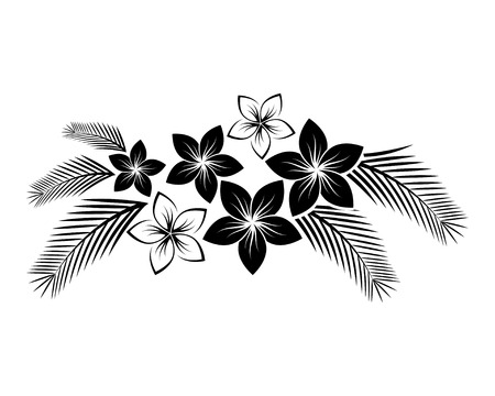 abstract floral composition with frangipani flowers and palm leaves for design