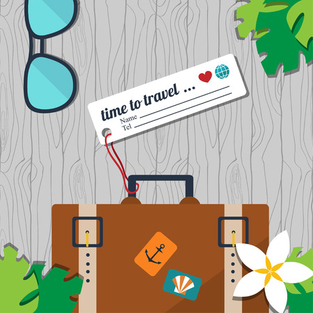 label tag: vector card template with retro suitcase with name tag, sunglasses and floral elements on the seamless wood background