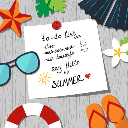 vector card template with to-do list and summer accessories on the seamless wood background