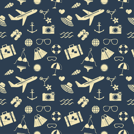 snorkelling: seamless pattern of summer outline icons with removable vintage effect