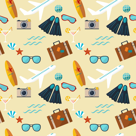 snorkelling: seamless pattern of summer flat icons