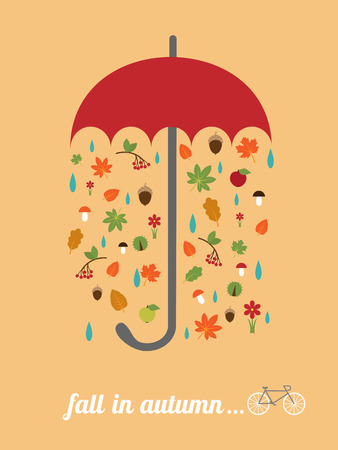 red umbrella: vector card template with red umbrella, falling leaves, retro bike and slogan fall in autumn