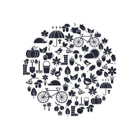 arrange: silhouettes of autumn icons arrange in the form of circle, vector for design