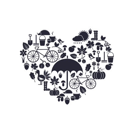 arrange: silhouettes of autumn icons arrange in the form of heart, vector for design