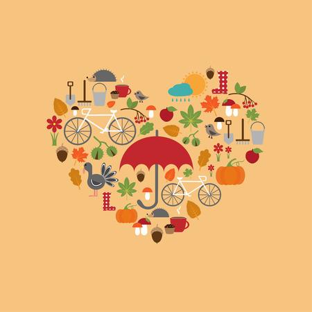 arrange: autumn flat icons arrange in the form of heart, vector for design Illustration