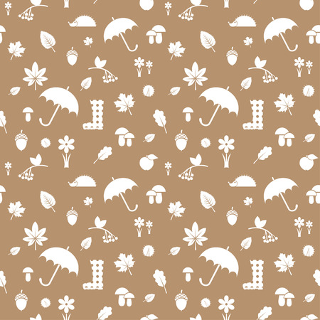 vector seamless pattern with autumn icons silhouettes on the beige background Vector