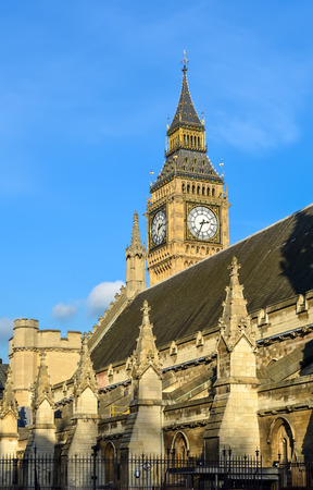 View on Big Ben Tower from behind the Westminster Abbey roof Editorial