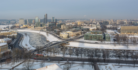 Snowy Vilnius and river view from the Gediminas Hill