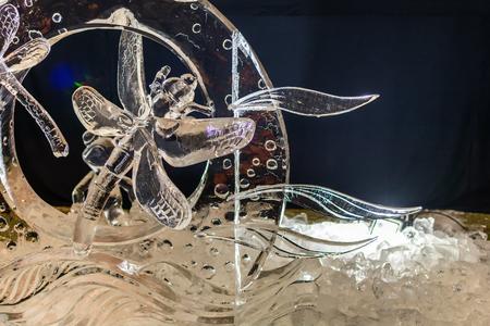 Jelgava, Latvia - February 17, 2018: Fragment of ice sculpture