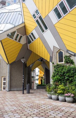 Cube Houses in Rotterdam, Netherlands viewed from the central space.  It is a set of innovative houses based on the concept of high density housing with sufficient space. Sajtókép