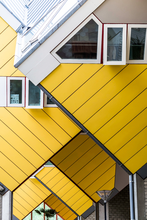 Repeating cube pattern of Cube Houses in Rotterdam, Netherlands. It is a set of innovative houses based on the concept of high density housing with sufficient space.