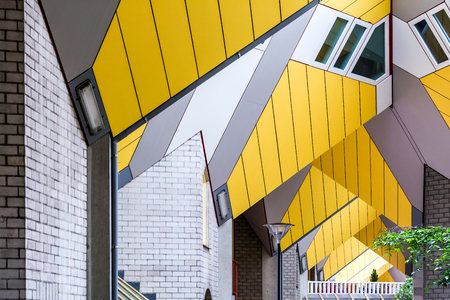 Rotterdam, Netherlands - May 22, 2018: Repeating cube pattern of Cube Houses. It is a set of innovative houses based on the concept of high density housing with sufficient space.