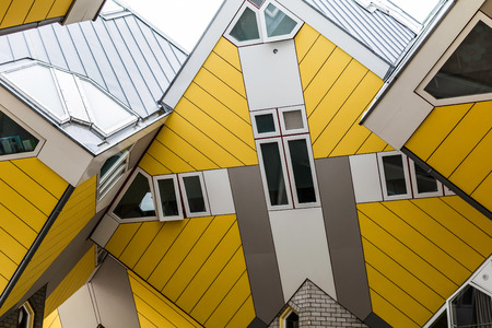Rotterdam, Netherlands - May 22, 2018: Tilted windows of one of the Cube Houses. It is a set of innovative houses based on the concept of high density housing with sufficient space.