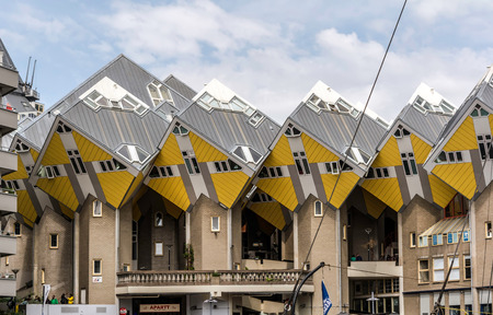 Rotterdam, Netherlands - May 22, 2018: View to the Cube Houses complex. It is a set of innovative houses based on the concept of high density housing with sufficient space. Sajtókép