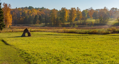 Autumn field with single haystack and the wood in the background. Rural landscape. Hayrack on the field at the forest in Latvia. Imagens