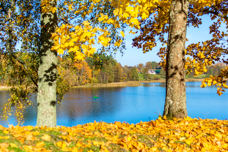 Autumn landscape with lonely boat on the lake. Bright autumn park with blue lake and dry fallen colorful leaves. Colorful bright foliage in the autumn park. Autumn leaves background.