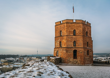View to the Gediminas Tower - the remaining part of the Upper Castle in Vilnius, Lithuania in frosty winter day. The tower is a symbol of Vilnius and of Lithuania.